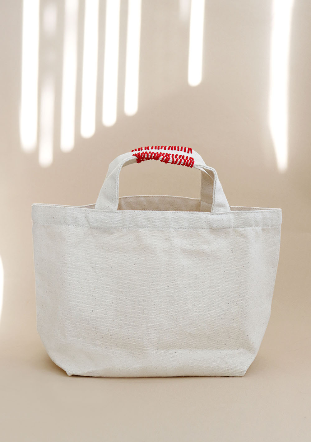"Stitch Cotton Bag""ivory + red """